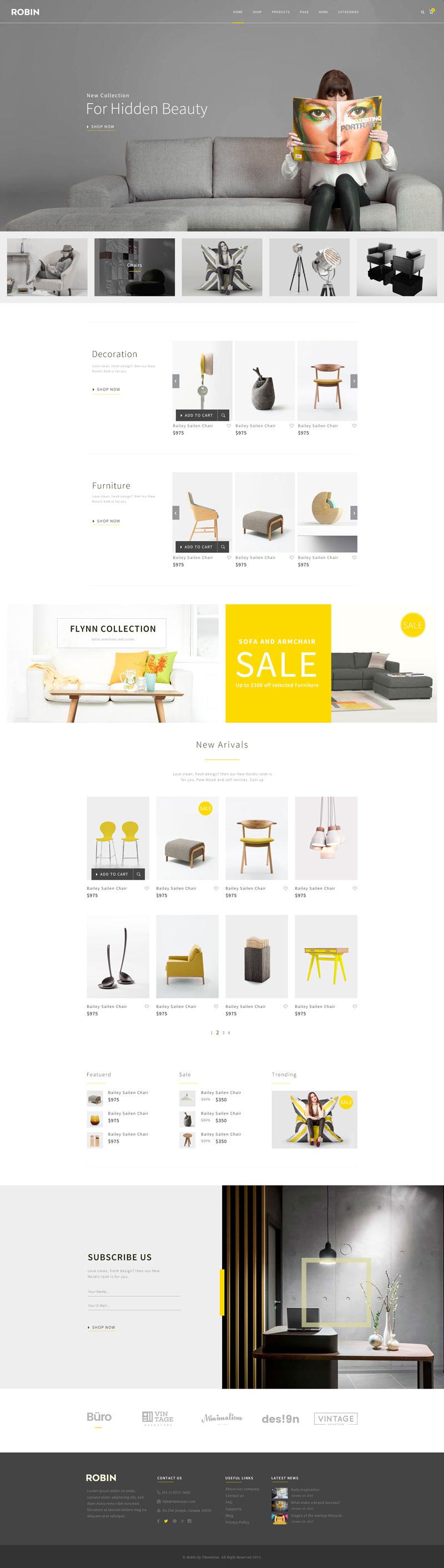 高端定制家具商城网站PSD模板
