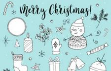 手绘圣诞装饰矢量设计元素,AI源文件