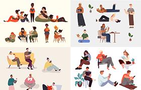 14套读书阅读人物形象插图,AI源文件