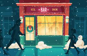 圣诞平安夜酒吧插图,AI源文件