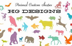 59种动物剪影ps形状,csh格式