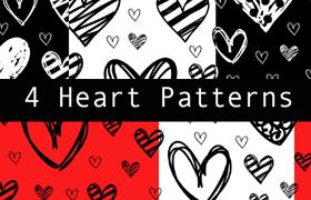 4种涂鸦爱心背景图案,pat格式