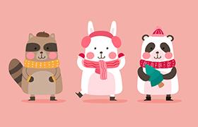 可爱动物卡通形象插图,AI源文件