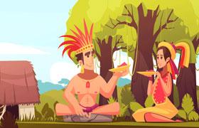 玛雅印第安人家庭插图,AI源文件