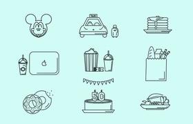 18枚生活娱乐图标,AI源文件