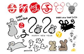 8套日式风格鼠年素材包,AI源文件