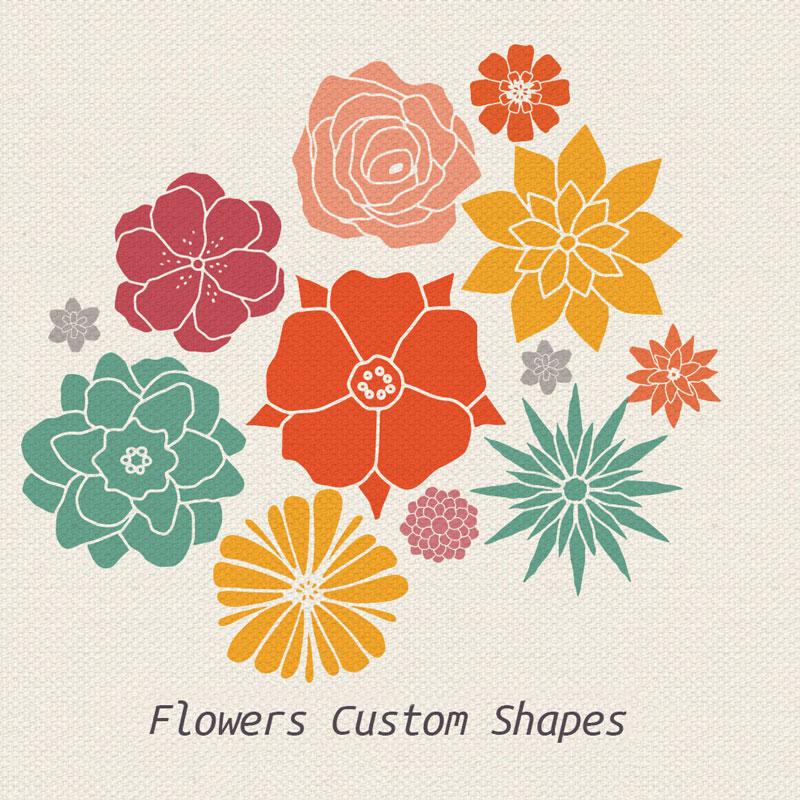 12个花朵PS形状,csh格式