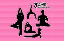 5个瑜伽姿势剪影PS形状,csh格式
