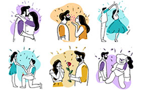 12张情人节矢量插图,AI源文件