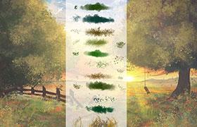 23种草丛花卉水彩画Photoshop笔刷
