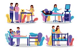 13张孕期场景插图,AI源文件