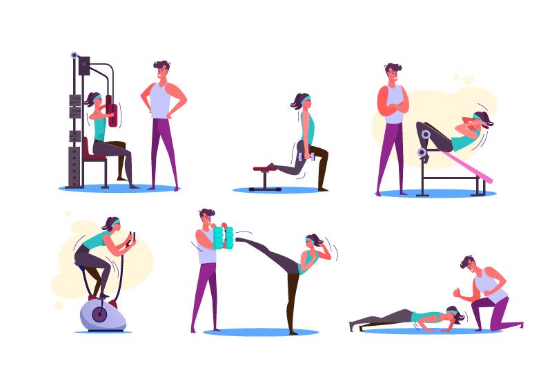 6张健身插图,AI源文件