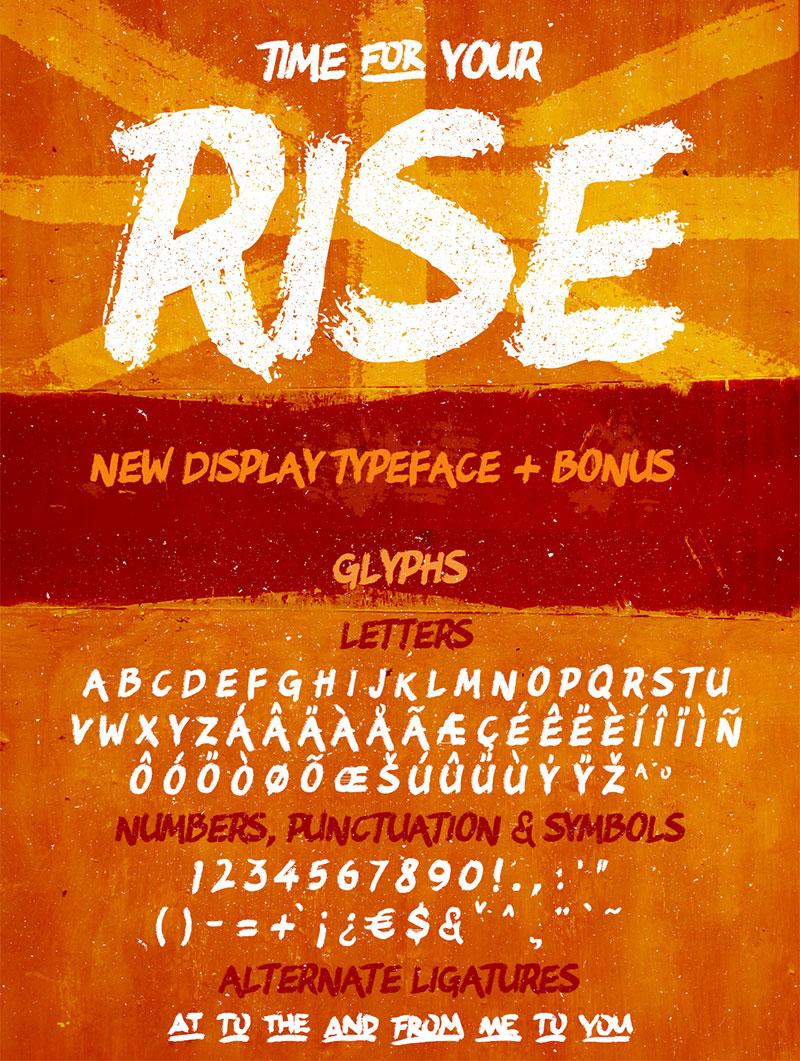 Rise笔刷风格 英文字体