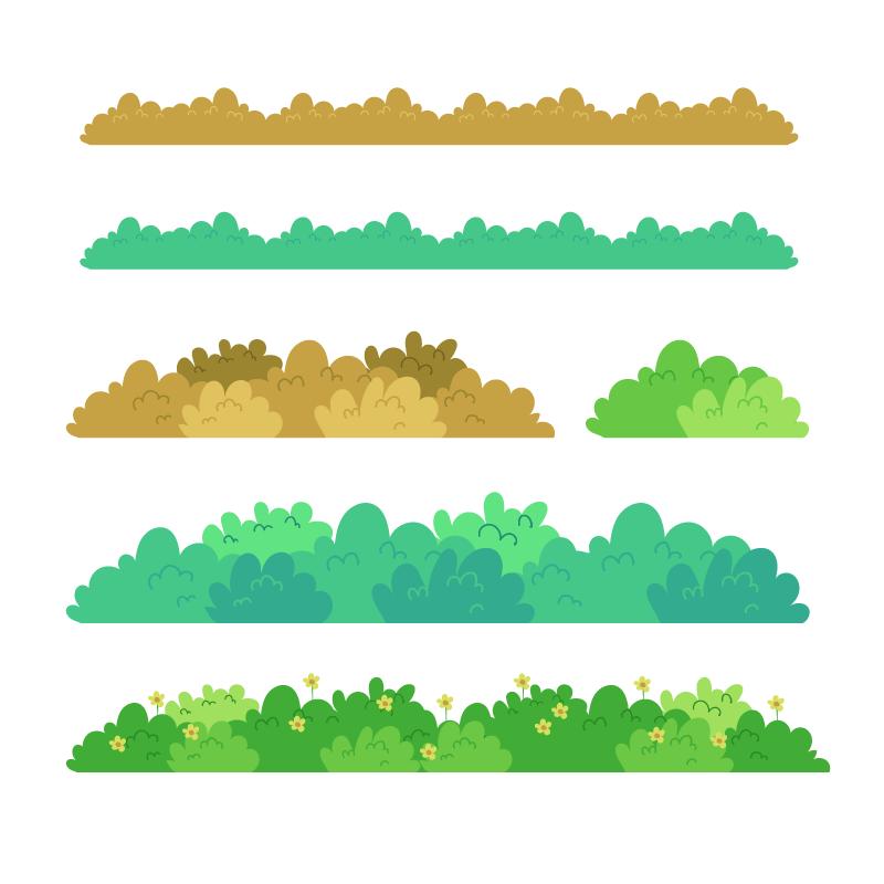 5种草丛场景插画,AI源文件