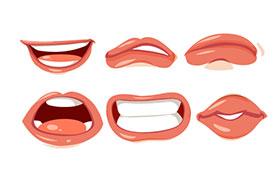 写实嘴唇矢量素材,AI源文件