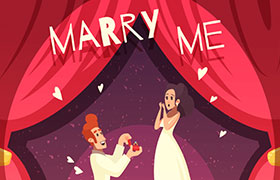 新婚夫妻卡通形象插画,AI源文件