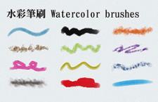 12种水彩画笔PS笔刷套装