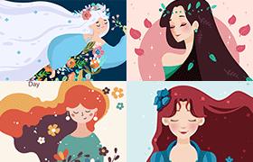 9张漂亮女王节矢量插图,AI源文件