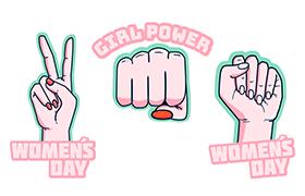 手绘妇女节手势徽章素材,AI源文件