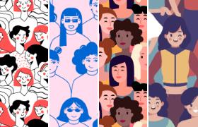 4套妇女节无缝填充背景,AI源文件