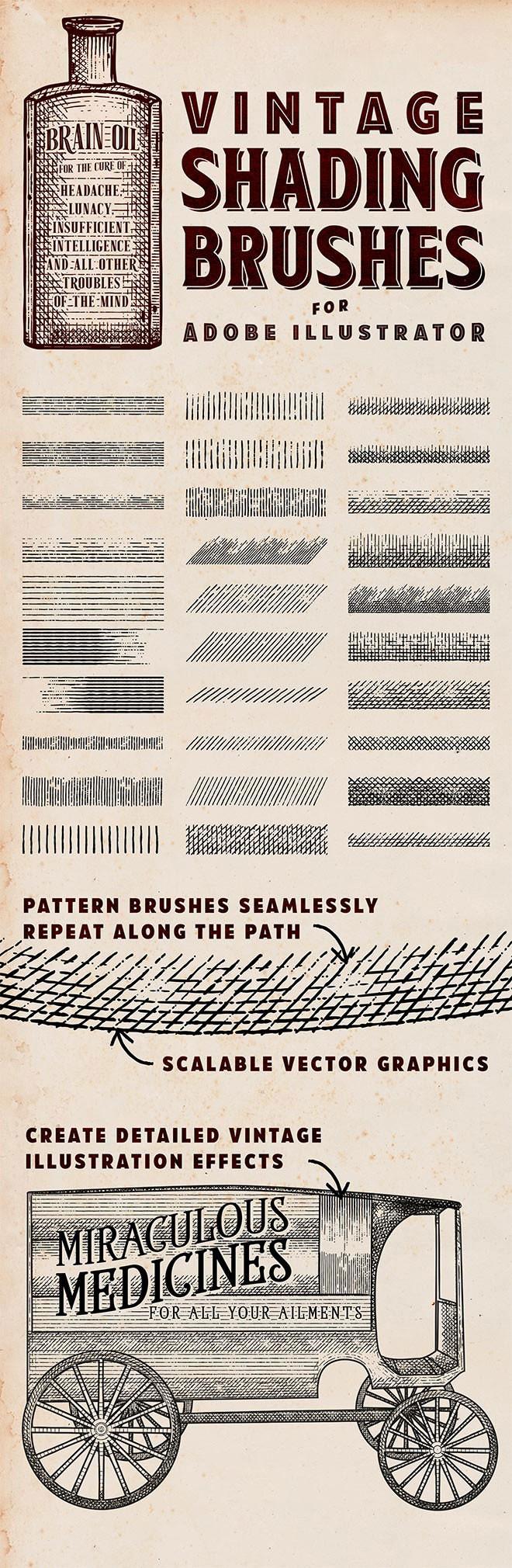 30个Illustrator老式底纹画笔