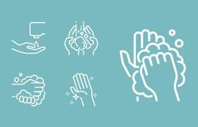 20枚洗手示意图标,SVG格式