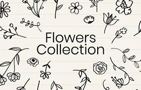 手帐花朵手绘插图,AI源文件