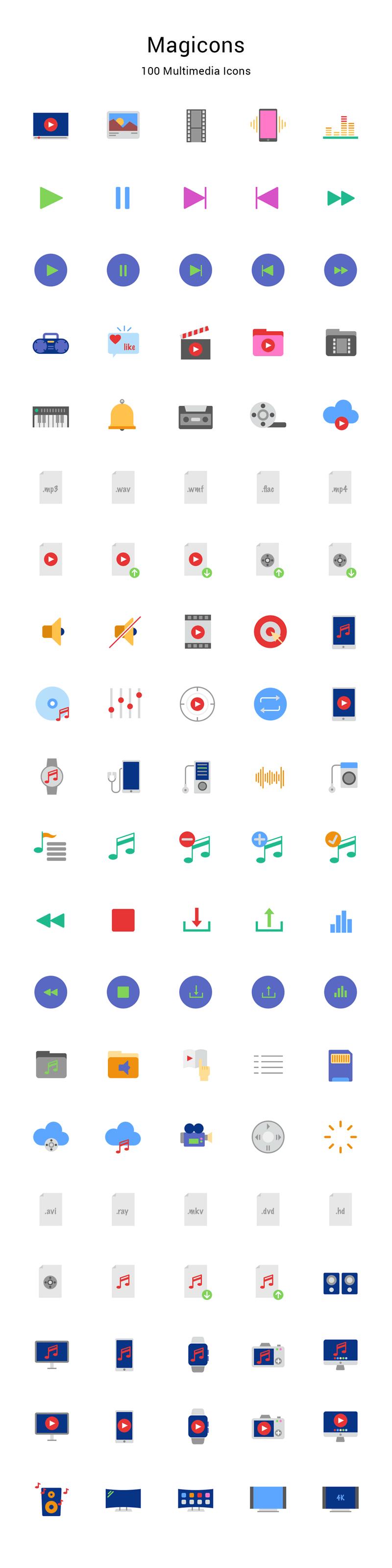 100枚多媒体图标,Sketch AI PNG格式