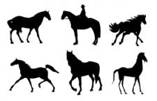 15个赛马剪影PS形状,csh格式