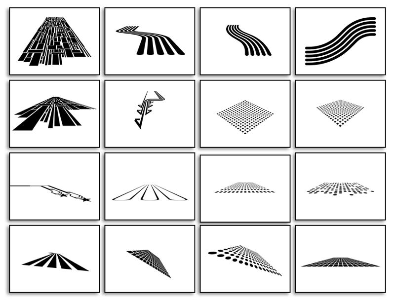 16种透视科技感PS形状,csh格式