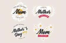 3套母亲节英文字体矢量素材,AI源文件