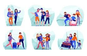 家人朋友旅行插画,AI源文件