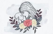 母亲节简笔插画海报,AI源文件