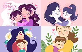 11张母亲节扁平风插画,AI源文件