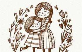 2张母亲节简笔插画,AI源文件