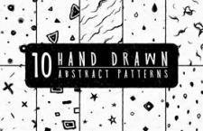 10个手绘抽象图案,PNG格式